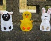 Finger Puppets - Set of 3: Chick, Bunny Rabbit & Lamb