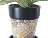 """4.5"""" Marigold/Dragonfly Terracotta Pot with Chalkboard"""