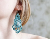 Vintage feligree patina turquoise earrings - easter, pastel