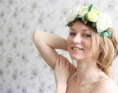 Lime green ranunculus wedding headband - Spring wedding, flower headband, rustic wedding