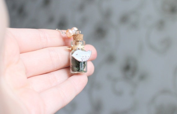 Glass vial pendant - bottle filled with moss & tiny bird charm necklace
