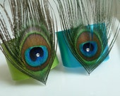 Apple Green and Turqoise Peacock Feather Napkin Rings