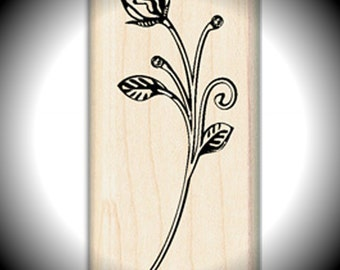 Wood Mounted Rubber Stamp Rose Bud