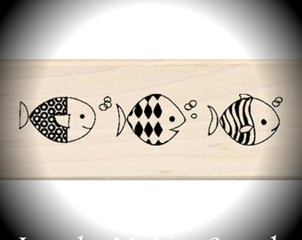 Wood Mounted Rubber Stamp Crazy Fish Border