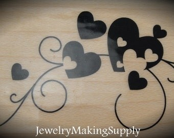 Wood Mounted Rubber Stamp Long Scroll