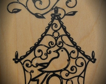 Wood Mounted Rubber Stamp Bird Cage