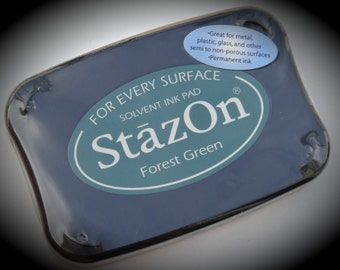 Tsukineko StazOn Acid Free Forest Green Color Permanent Ink Pad