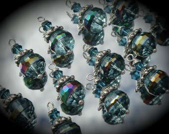 Hand Wire Wrapped Swarovski Crystals Dangle Charms on Silver Plated Ball End Headpin Aqua Iris