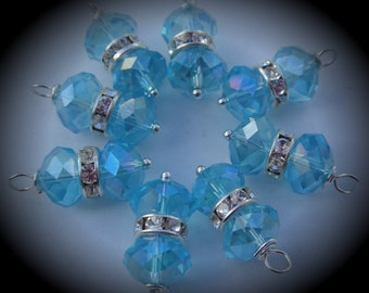 Hand Wire Wrapped Swarovski Crystals Dangle Charms on Silver Plated Ball End Headpin Aquamarine
