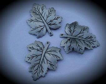 Silver Maple Leaf Metal Pendants