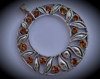 Genuine Silver Plated Swarovski Crystal Pendant In Topaz