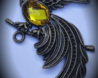 Brass Exotic Bird Pendant With Crystal