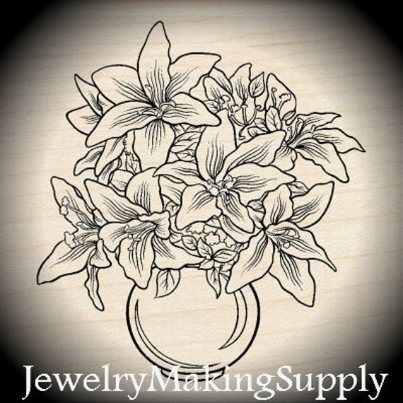Wood Mounted Rubber Stamp Lily Floral