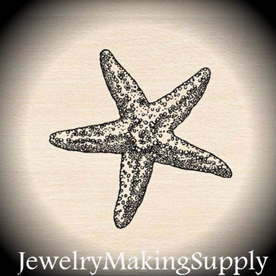 Wood Mounted Rubber Stamp Starfish