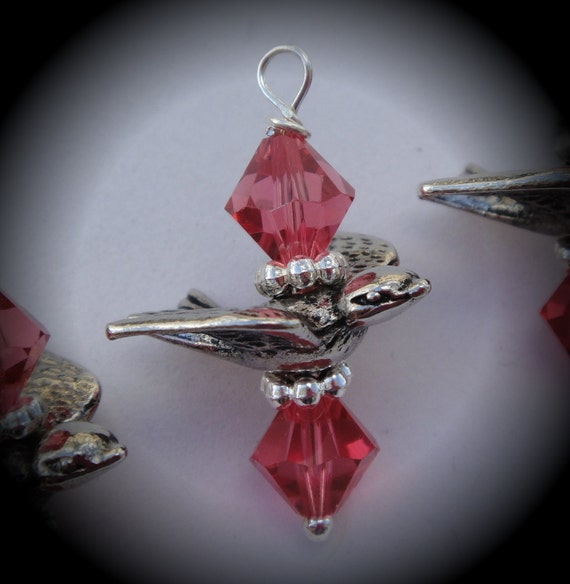 Hand Wire Wrapped Swarovski Crystals Dangle Charms on Silver Plated Ball End Headpin Padparadscha