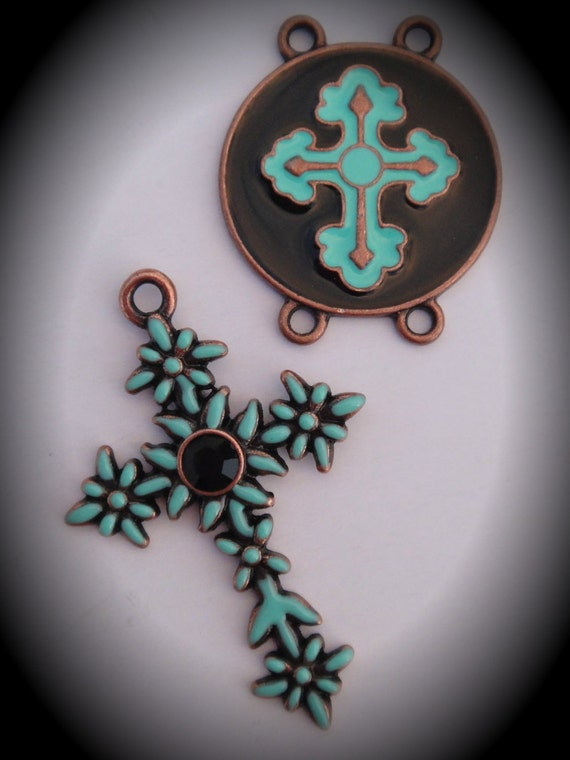 Copper Enamel And Crystal Rosary Set