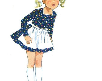 "Simplicity 9202 Vintage 70s Uncut Girls' ""HEIDI"" Dress, Apron & Blouse Sewing Pattern-Printed In German Size 4 102cm B23 58cm"