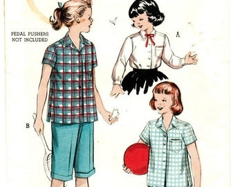 Butterick 6614 Vintage Retro 50s SHIRTWAIST BLOUSE with choice of sleeves Sewing Pattern Size 6 B24
