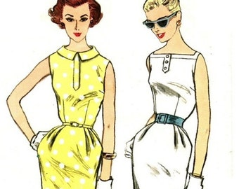 Simplicity 2068 Vintage 50s Magic City Miami Wiggle Sexy Sheath Dress - Perfect for Summer- Sewing Pattern Size 12 Bust 32