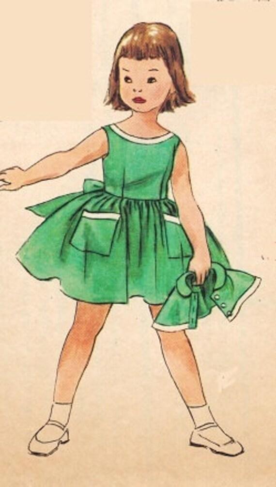 Simplicity 1595 Vintage UNCUT 50s Party DRESS Sewing Pattern Size 6 B24