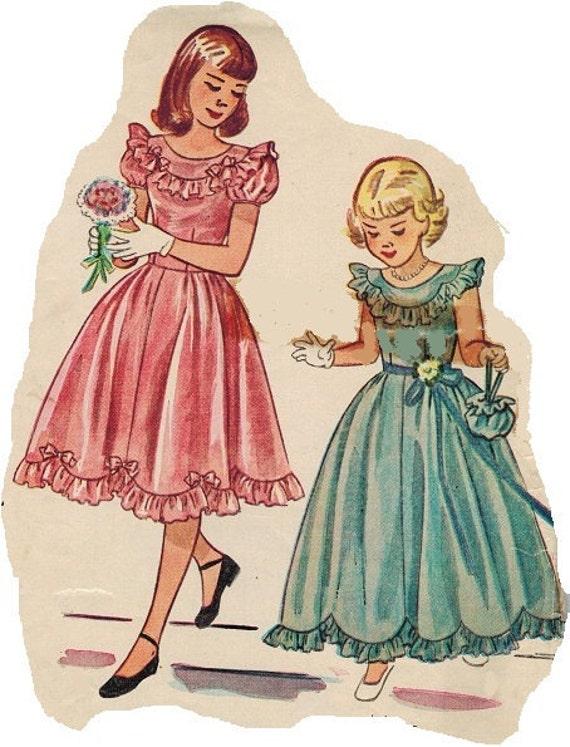 On SALE Simplicity 2685 40s Fantastic Wedding Flower Girl or Communion DRESS Vintage Sewing Pattern Size 7 B25