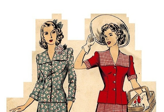 Hollywood 1139 Vintage 1940s Lovely Two Piece Dress (or Suit) with Inverted Pleat Skirt and Jacket Style Blouse Bust 36