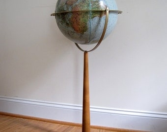 Mid Century Globe and Stand - Land and Sea