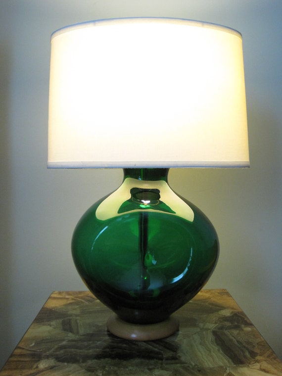 Reserved For Sam Blenko Table Lamp Emerald Green Glow