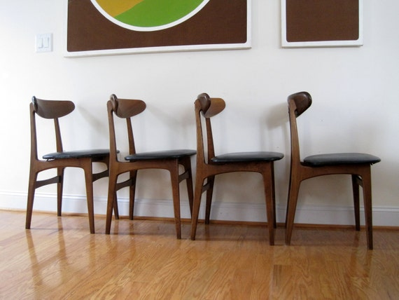 Danish Modern Dining Chairs - Set of Four with Walnut Frames and Over-Sized Seats.