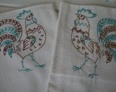 Embroidered rooster kitchen tea towels