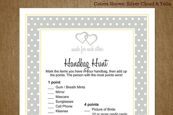 Bridal Wedding Shower Printable Game: Purse or Handbag Hunt with Hearts