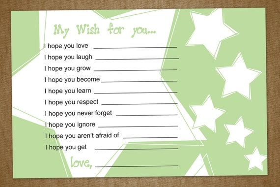 Baby Shower Wishes, DIY Printable Cards for a Baby Shower with Stars