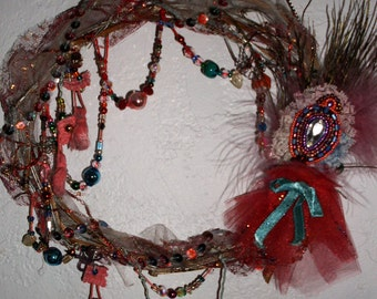 Uniquely Beaded Wreath Vintage Old World Charm French Chic Circus Pink