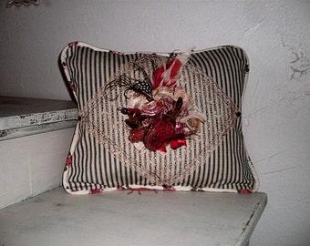 Edwardian Boudoir Pillow w Rose Brooch 1800s Glass Nailheads OOAK Beautiful