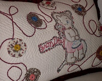 Quilted Soft White Pillow With Teddy Bear Lots of Yo Yos and Old Buttons Too Cute Vintage