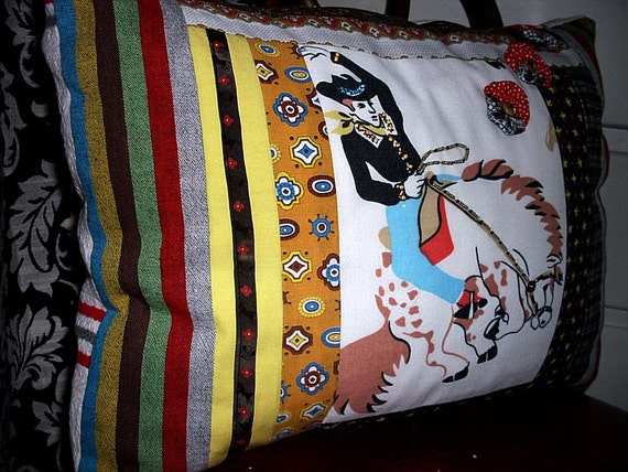 Rustic Rodeo Pillow  OOAK Vintage Bucking Horse With Cowboy Beaded