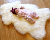 Large eco lambskin rug for babies and kids, first year's fleece sheepskin soft and dense- free of harsh chemicals