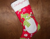 CYBER MONDAY SALE - Red Christmas Candy Snowman Stocking.  Only one available