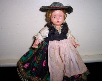 Vintage 1950's European Little Girl Doll