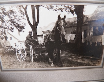 Antique  1908 Photograph of Man with Horse and Cart