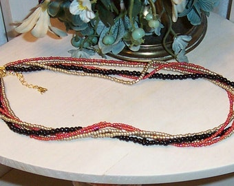 Coral,  Black and Gold 5-Strand Beaded Necklace and Loop Earrings