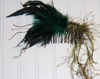 Forest Green Feathers Comb or Barrett with Tassels