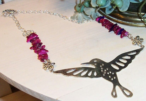 Hummingbird Necklace with Pink n Purple Chip Beads