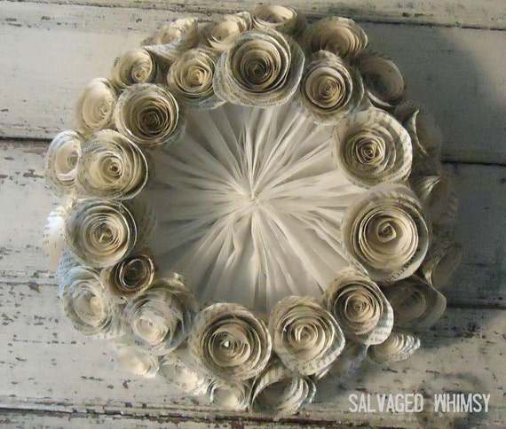 Rolled Paper Flower Wreath with Paper Pleating