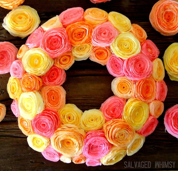 Shades of  Bold Rolled Flower Paper Wreath