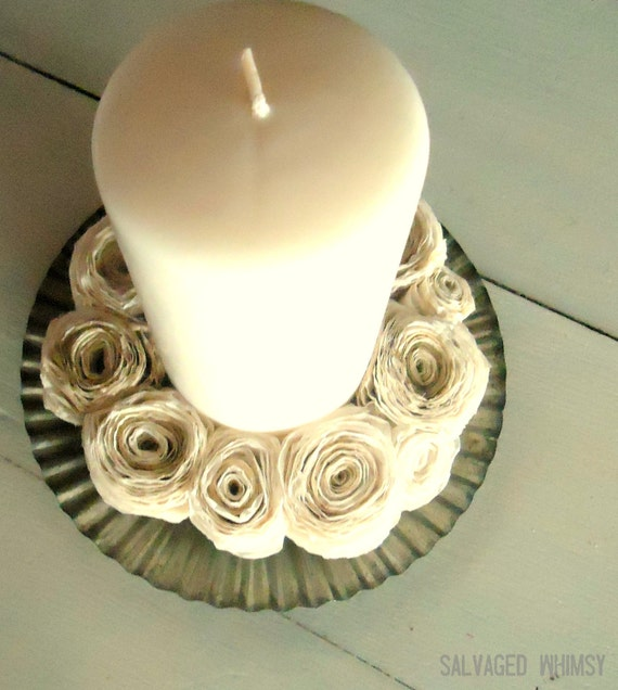 """Fluted Metal Candle Holder with Coffee Filter """"Wreath"""" and Candle"""