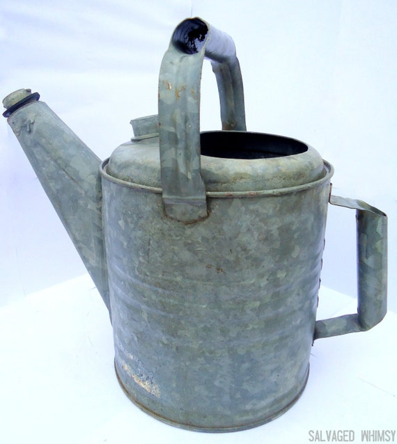 Metal Watering Can, Industrial, Garden, Outside, Exterior Decor for Farm, Cottage, Country
