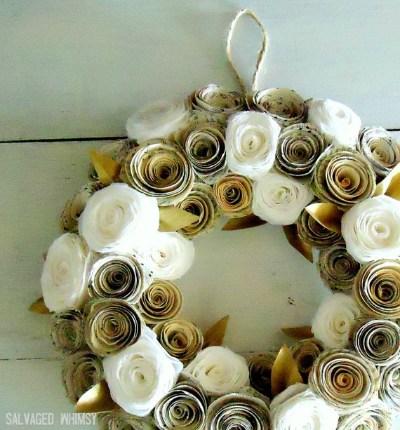 """10"""" Book Page and Coffee Filter Rolled Paper Flower Wreath"""