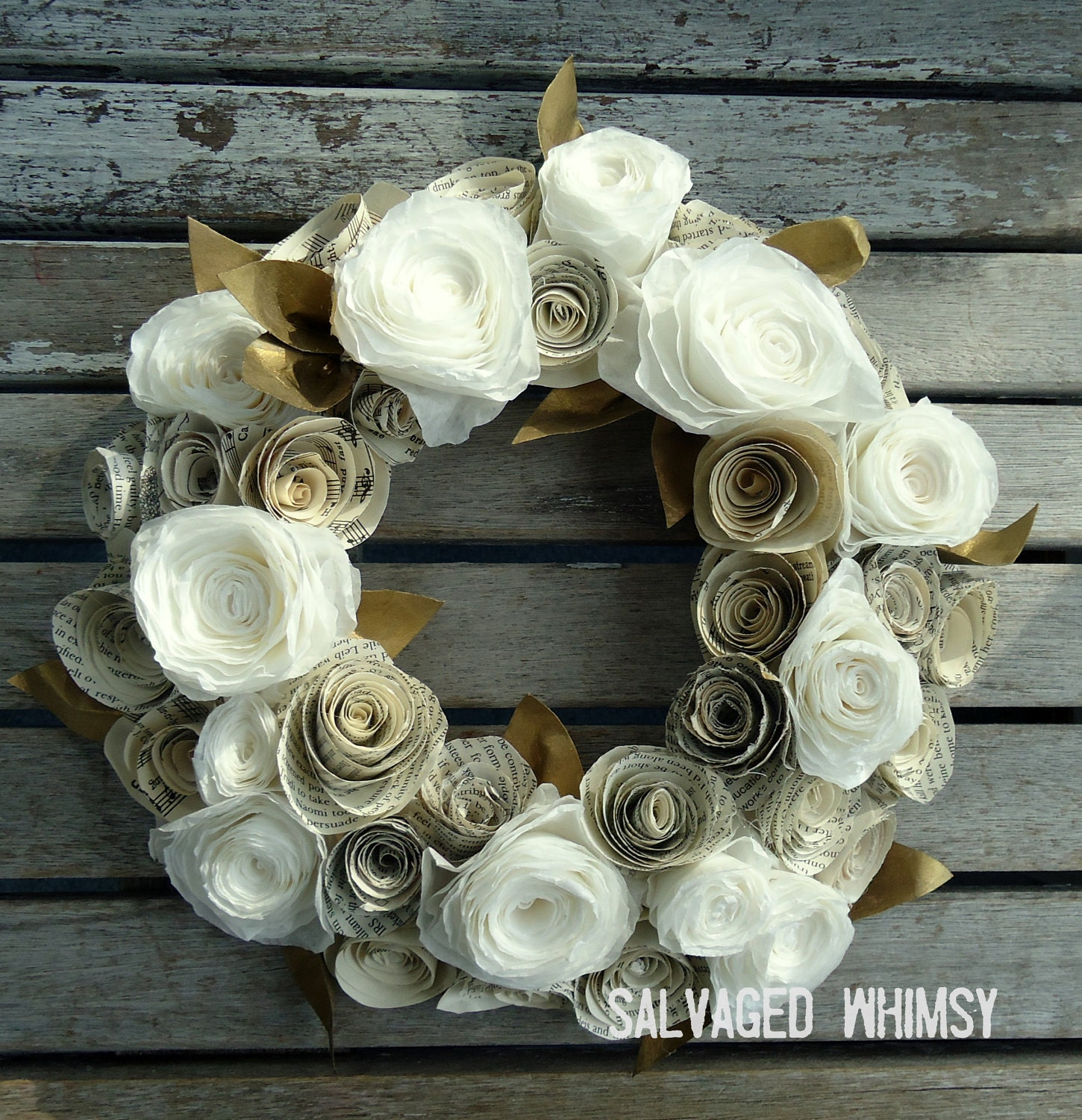 Book Page And Coffee Filter Rolled Paper Flower Wreath