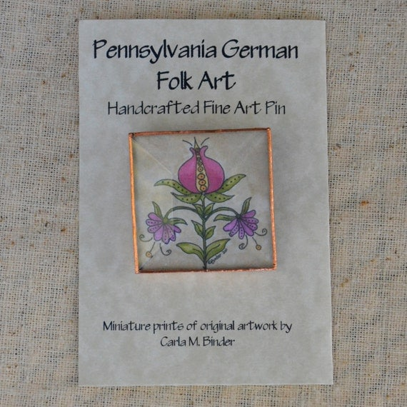Pennsylvania German Pomegranate Pin with Beveled Glass Face and Copper Edging